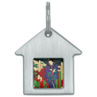 Japanese Art - Painting Of Two Women In The Snow Pet ID Tag