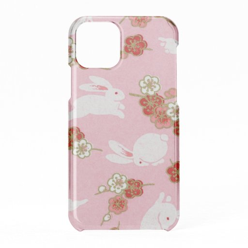 Japanese Art Pink Sakuras and Rabbits iPhone 11 Pro Case