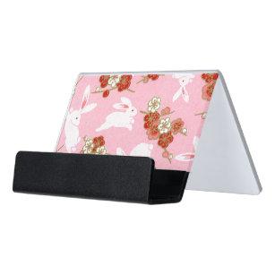 Japanese business card holders zazzle japanese art pink sakuras rabbits desk business card holder colourmoves