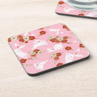 Japanese Art: Pink Sakuras & Rabbits Drink Coaster