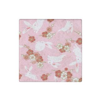 Japanese Art: Pink Sakuras & Rabbits Stone Magnet