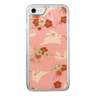 Japanese Art: Pink Sakuras & Rabbits iPhone7 Maple Carved iPhone 7 Case