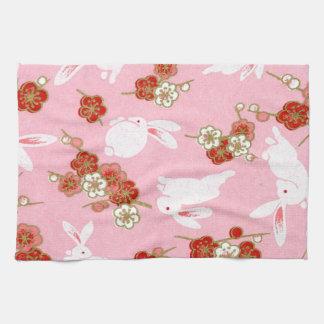 Japanese Art: Pink Sakuras & Rabbits Kitchen Towel