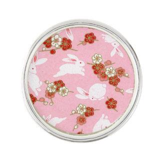 Japanese Art: Pink Sakuras & Rabbits Lapel Pin