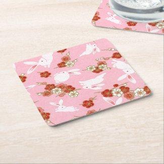 Japanese Art: Pink Sakuras & Rabbits