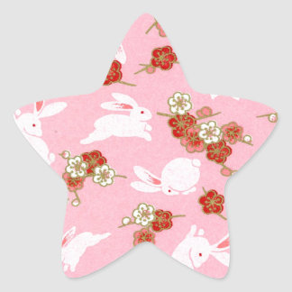 Japanese Art: Pink Sakuras & Rabbits Star Sticker