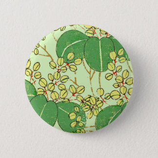 Japanese Art Print Floral Leaves Vintage Pinback Button