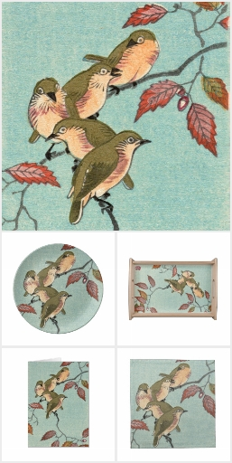 Japanese Art Print - Green birds