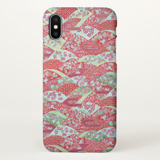 Japanese Art Red Floral Yuzen iPhone X Case