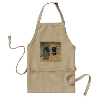 Japanese Art - Samurai And His Servant Adult Apron