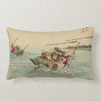 Japanese Art - Two Samurais Attacking From A River Lumbar Pillow