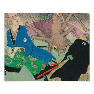 Japanese Art - Two Samurais Fighting A Spider Lady Poster
