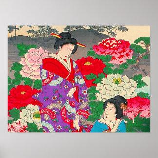 Japanese Art  - Two Women Talking In Rose Garden Print