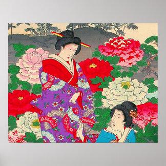 Japanese Art  - Two Women Talking In Rose Garden Posters