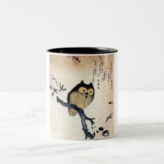 Japanese Art ukiyo-e Owl on a Branch Mugs