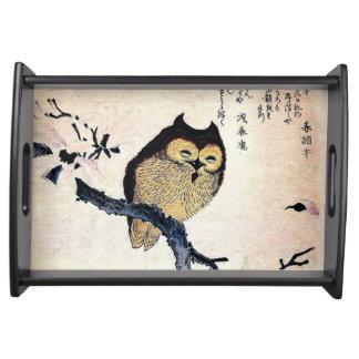 Japanese Art ukiyo-e Owl on a Branch Serving Platters