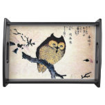 Japanese Art ukiyo-e Owl on a Branch Serving Tray