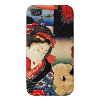 Japanese Artwork - Woman Reading Paper with Cat iPhone 4/4S Cover