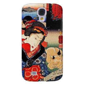 Japanese Artwork - Woman Reading Paper with Cat Samsung Galaxy S4 Case