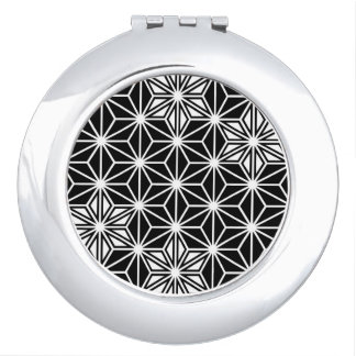 Japanese Asanoha pattern - black and white Makeup Mirrors