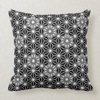 Japanese Asanoha pattern - black and white Throw Pillow