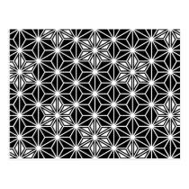 Japanese Asanoha pattern - black and white Postcard