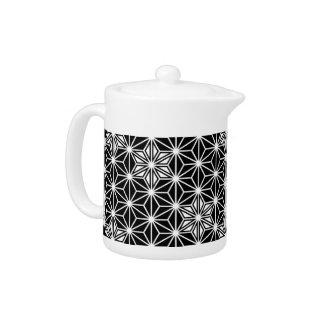 Japanese Asanoha pattern - black and white Teapot