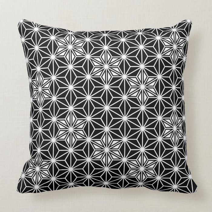 Black And White Patterned Throw Pillows : Japanese Asanoha pattern - black and white Throw Pillow Zazzle