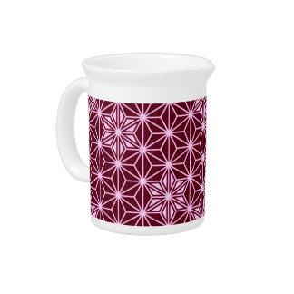 Japanese Asanoha pattern - burgundy Drink Pitcher