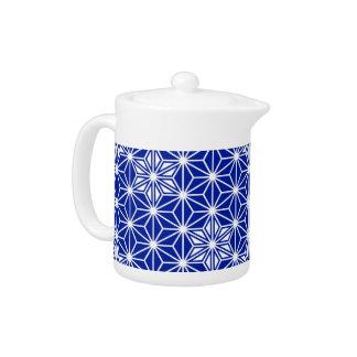 Japanese Asanoha pattern - cobalt blue Teapot