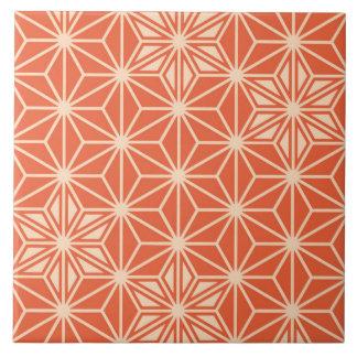 Japanese Asanoha pattern - coral orange Ceramic Tile