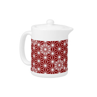 Japanese Asanoha pattern - dark red Teapot