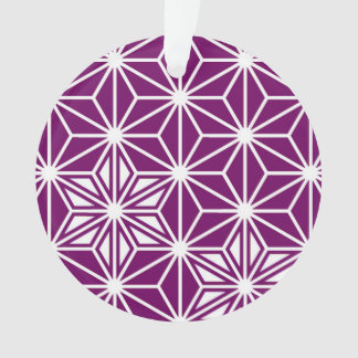 Japanese Asanoha pattern - eggplant purple Ornament