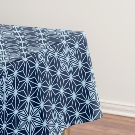 Japanese Asanoha Pattern   Indigo Blue Tablecloth