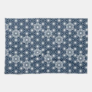 Japanese Asanoha pattern - indigo blue & white Kitchen Towel