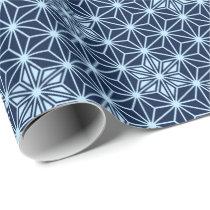 Japanese Asanoha pattern - Indigo Blue Wrapping Paper