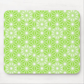 Japanese Asanoha pattern - light lime green Mouse Pad