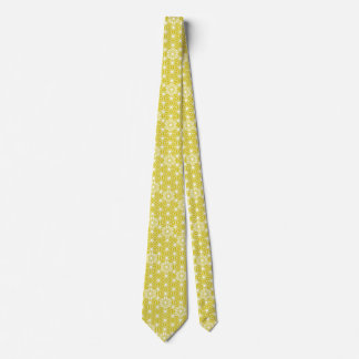 Japanese Asanoha pattern - mustard gold and white Tie