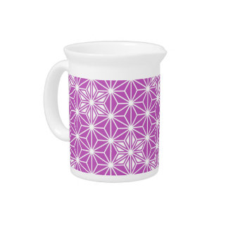 Japanese Asanoha pattern - orchid Beverage Pitcher
