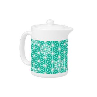 Japanese Asanoha pattern - peacock blue Teapot