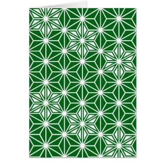 Japanese Asanoha pattern - pine green Card