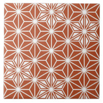 Japanese Asanoha pattern - terracotta Ceramic Tile