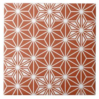 Japanese Asanoha pattern - terracotta Ceramic Tile