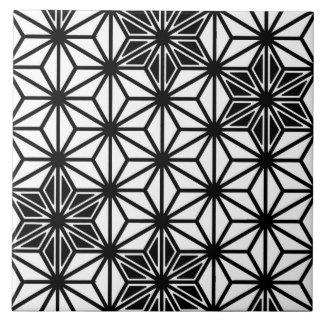 Japanese Asanoha pattern - white and black Tile