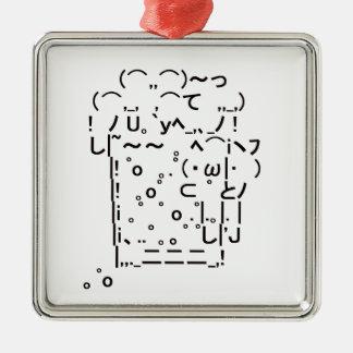 "Japanese ASCII Art ""beer"" Metal Ornament"