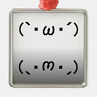 "Japanese ASCII Art ""plain gauze Keen"" & ""shiyobon"" Metal Ornament"