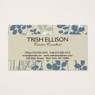 Professional Business Japanese Asian Art Floral Blue Flower Print Business Card