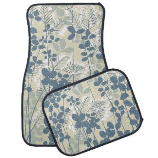 Japanese Asian Art Floral Blue Flowers Print Car Floor Mat