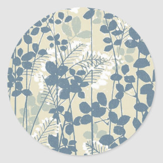 Japanese Asian Art Floral Blue Flowers Print Classic Round Sticker