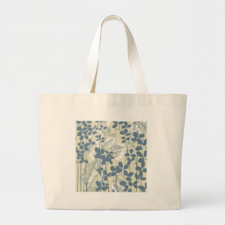 Japanese Asian Art Floral Blue Flowers Print Large Tote Bag
